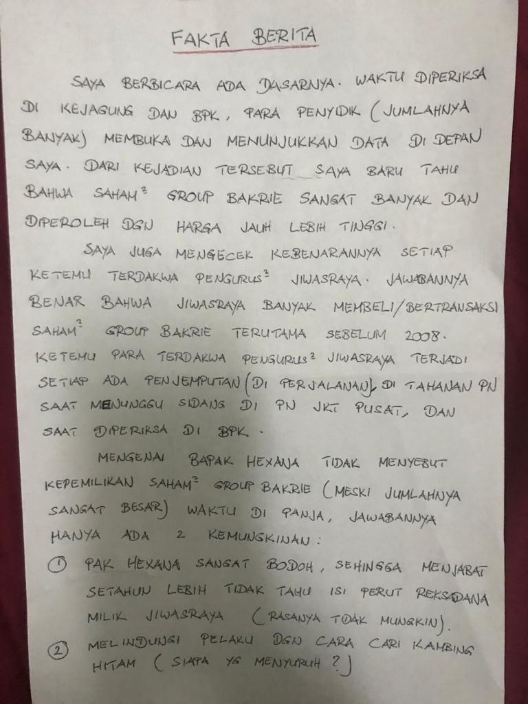 BNBR BUMI RIMO BT Sebut Jiwasraya Beli Saham Bakrie di Harga Tinggi | Neraca.co.id