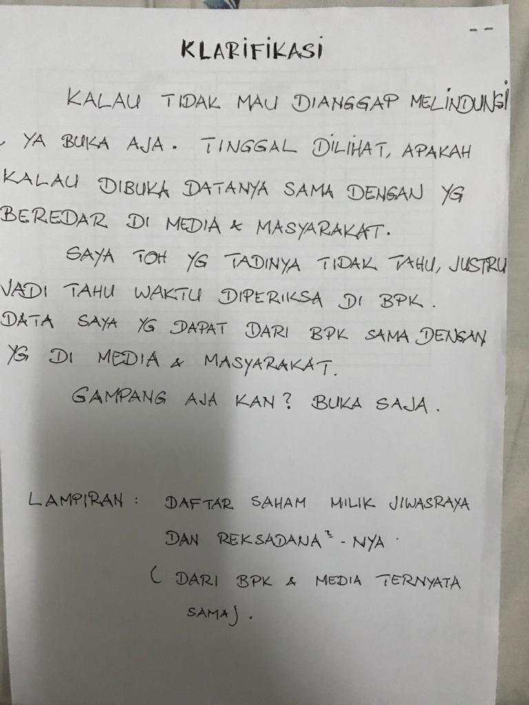 RIMO Biar Jelas, BT Minta Koleksi Saham Jiwasraya Dibuka | Neraca.co.id